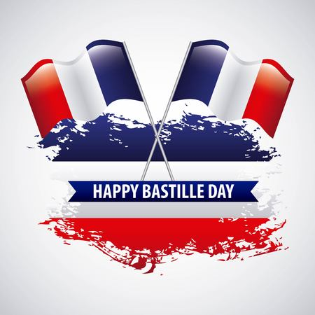 bastille day french celebration two flags crossed map grunge vector illustration