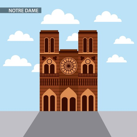 famous places in the world notre dame clouds blue sky vector illustration
