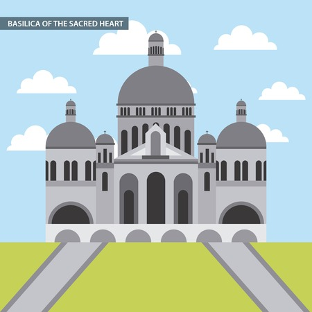 famous places in the world basilica of the sacred heart church vector illustration