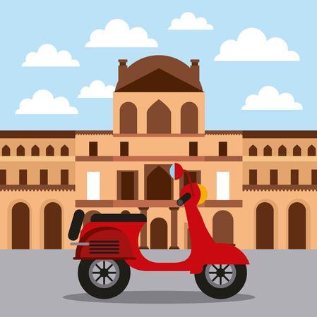 ランドマークロブレ博物館とオートバイ建築ベクトル図  イラスト・ベクター素材