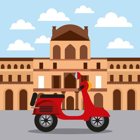 landmark lovre museum and motorcycle architecture vector illustration