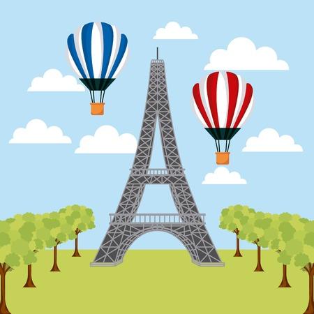 世界熱気球の塔エッフェルパリベクトルイラストのランドマーク
