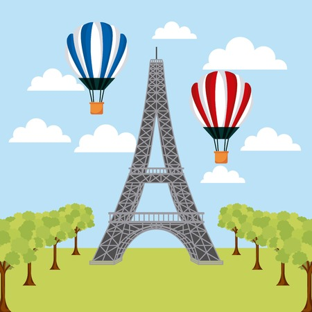 landmarks of the world hot air balloons trees tower eiffel paris vector illustration
