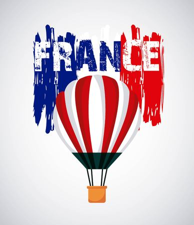 famous places in the world hot air balloons red flag france vector illustration 일러스트