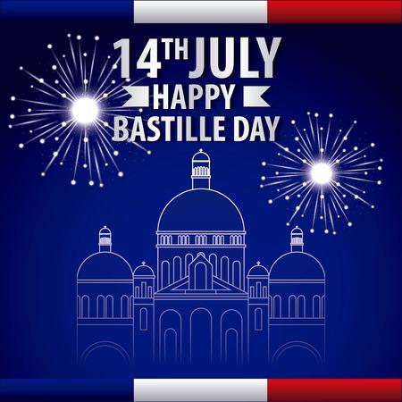 famous places in the world firworks bastille day celebration vector illustration
