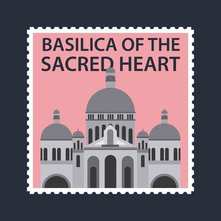 landmarks of the world pink postcard of basilica sacred heart vector illustration