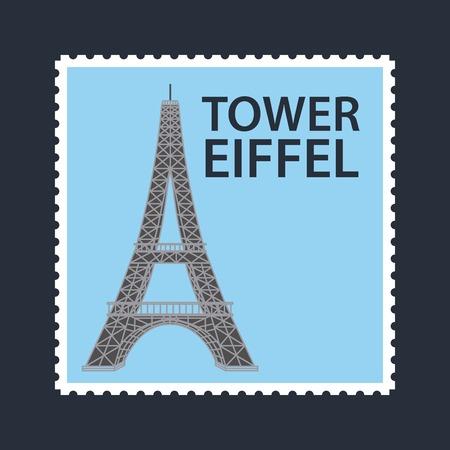 landmarks of the world blue postal of tower eiffel vector illustration