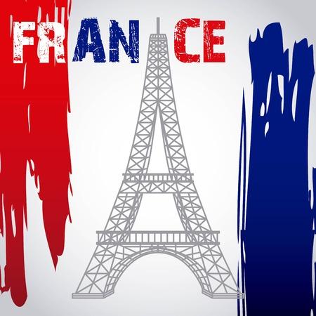 landmarks of the world france flag with tower eiffel vector illustration