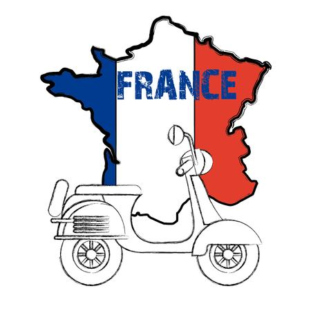 landmarks of the world motorcycle map of france vector illustration