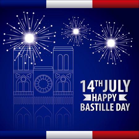 landmarks of the world celebration bastille day france fireworks vector illustration