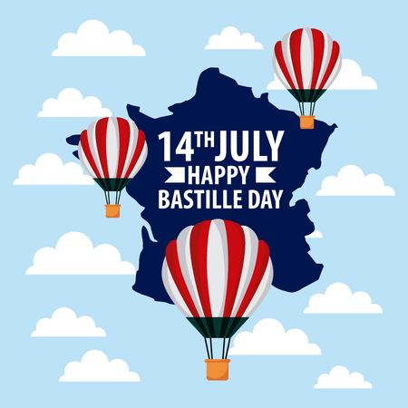 landmarks of the world hot air balloon map of france clouds bastille day vector illustration