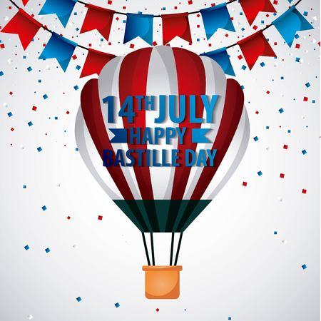 世界のお祝いバスティーユの日熱気球ペナントベクトルイラストのランドマーク