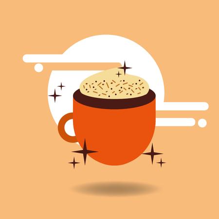 Espresso coffee cup cream chips vector illustration.
