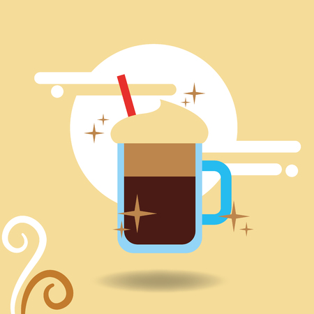 Coffee mocha cup foam straw cold vector illustration.