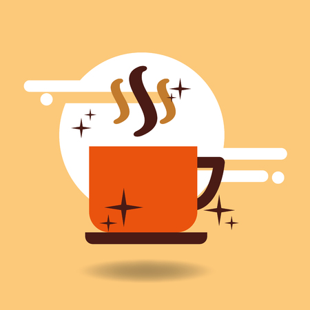 Coffee cup hot beverage on dish vector illustration.