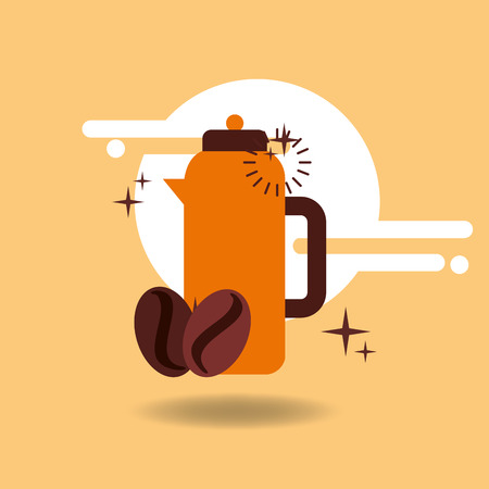 Coffee beans hot beverage vector illustration design.