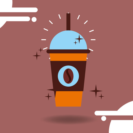 Takeaway frappe coffee bean delicious beverage vector illustration.