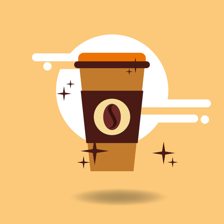 Paper cup coffee takeaway hot bean vector illustration.