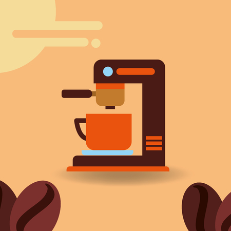Coffee maker with cup and beans product vector illustration.