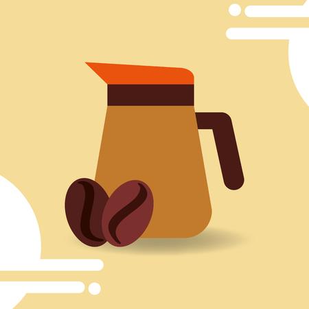 Coffee maker jar seeds image vector illustration.