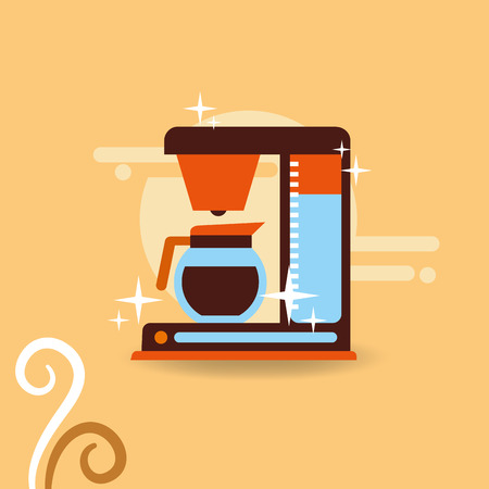 Coffee make machine and jar handle vector illustration.  イラスト・ベクター素材