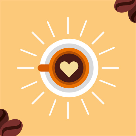 Heart on latte art coffee cup top view vector illustration.