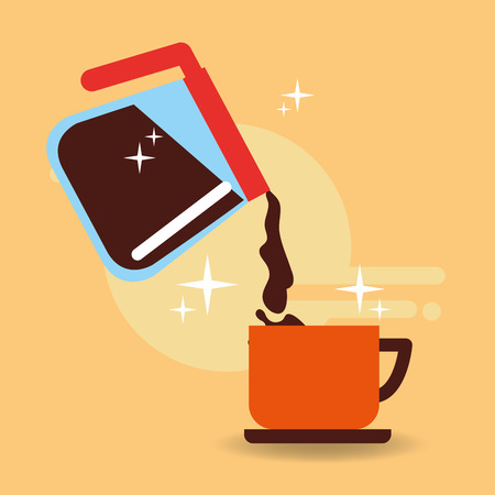 Pot glass handle pouring coffee on cup vector illustration. Illustration