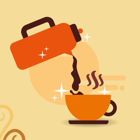 Pouring hot beverage coffee on cup vector illustration.