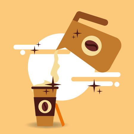 Fresh coffee pouring from pot in cup takeaway vector illustration. Illustration