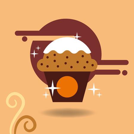 Cupcake coffee cream delicious pastry vector illustration. Illusztráció