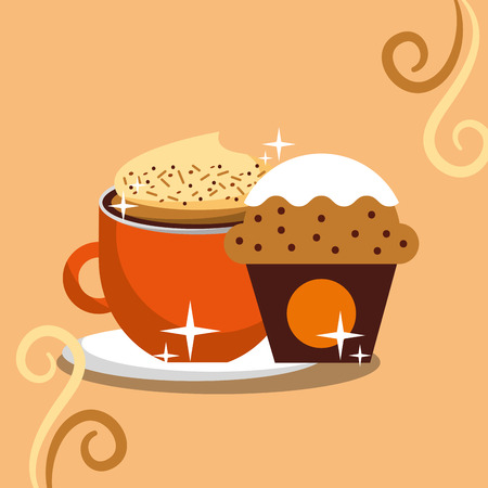 Cappuccino coffee foam and cupcake chips cream vector illustration.