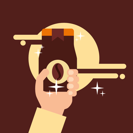 Hand holding coffee jar instant bean sticker vector illustration.