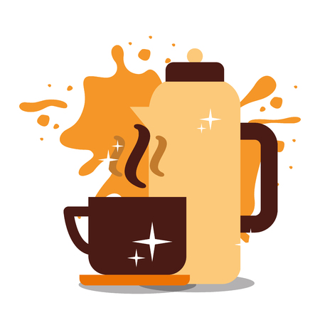 Coffee cup on dish  with splashes background vector illustration.
