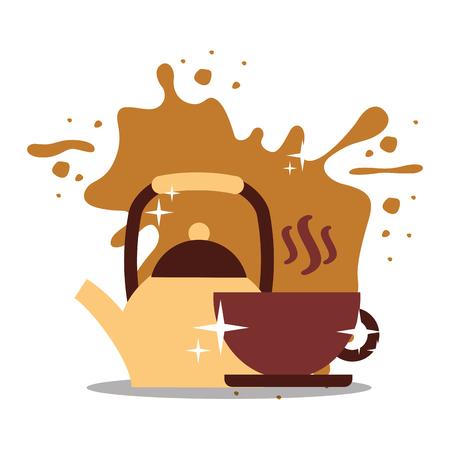 Coffee kettle handle and cup on dish splashes background vector illustration. Illusztráció