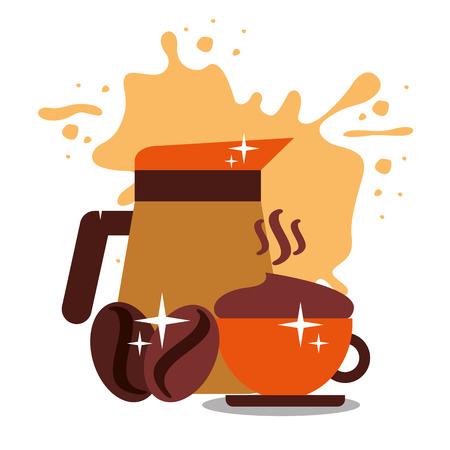種子を持つコーヒーメーカーの瓶とカップは、背景ベクトルのイラストを飛び散ります。