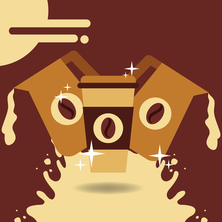 Takeaway coffee cup and two jar pouring splashes background vector illustration. Çizim