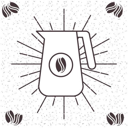 グランジ背景ベクトルイラストのコーヒージャービー飲料サンバースト