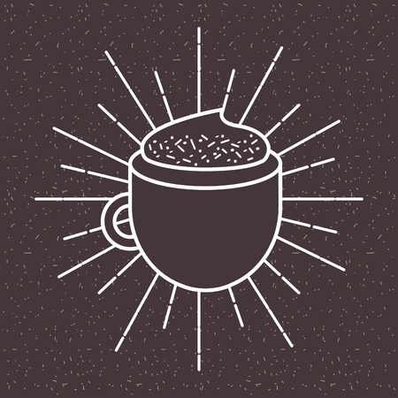 Coffee cappuccino foam sun rays dark background vector illustration