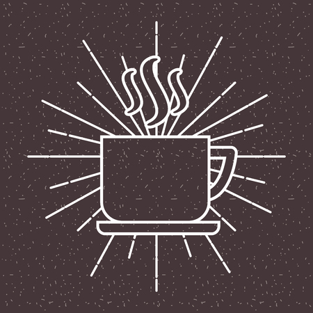 Hot coffee cup on dish sun rays dark background vector illustration Illustration