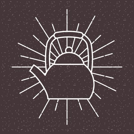 Metallic coffee kettle on sun rays dark background vector illustration