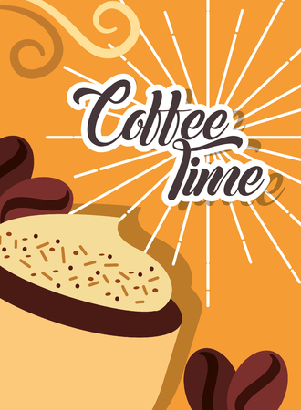 Coffee time cappuccino cup foam seeds retro style card vector illustration Ilustração