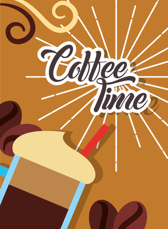 Fresh cold frappe coffee time retro style card vector illustration Ilustração