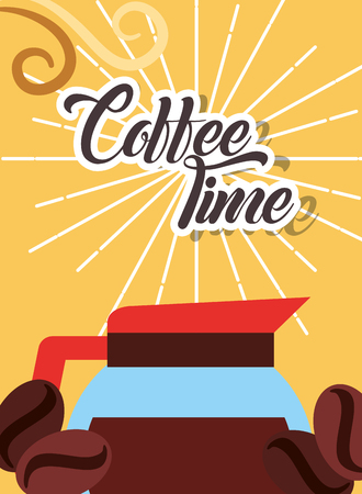 Glass maker coffee time and beans retro style card vector illustration