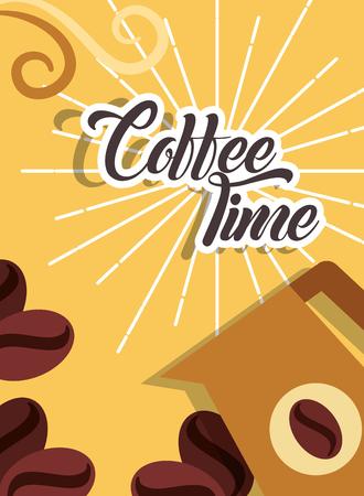 Coffee time pitcher beans grain retro style card vector illustration Ilustração