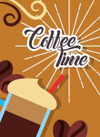 Fresh cold frappe coffee time retro style card vector illustration Foto de archivo - 98916097