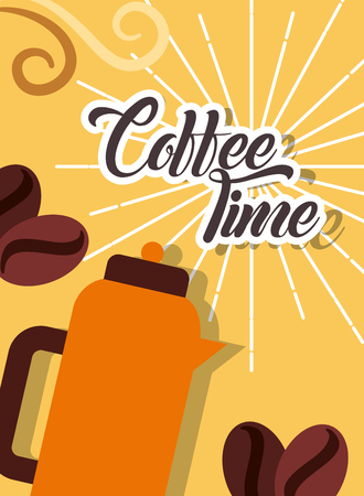 Coffee time hot beverage and beans retro style card vector illustration