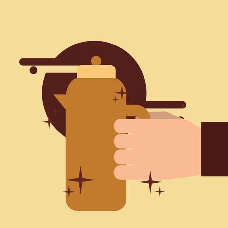 Hand holding coffee hot beverage vector illustration