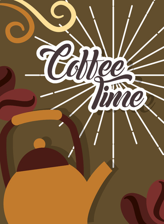 Coffee time metallic kettle and seeds retro style card vector illustration