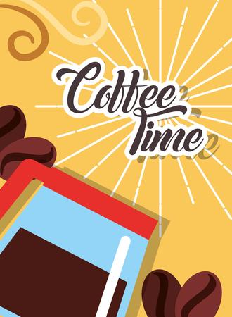 Coffee time maker glass seeds retro style card vector illustration Ilustração