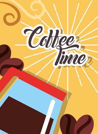 Coffee time maker glass seeds retro style card vector illustration Illustration